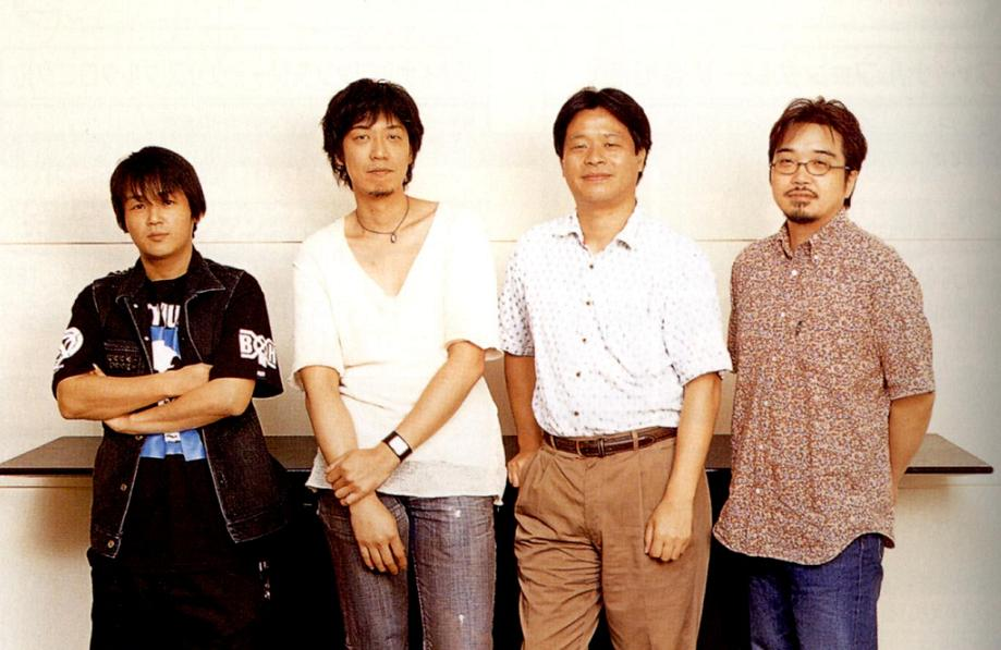 From left to right: Tetsuya Nomura, Yusuke Naora, Yoshinori Kitase, Kazushige Nojima
