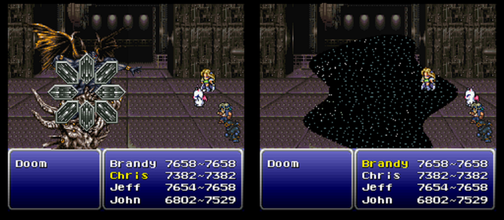 Two shots from Final Fantasy VI showing the spell Vanish and X-Zone being used against the boss Doom.