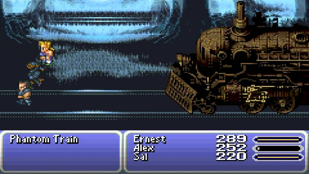 The battle against the Phantom Train in Final Fantasy VI, which can be defeated instantly with a Phoenix Down.