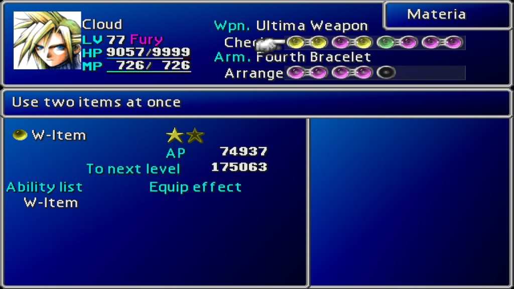 A picture of the materia menu from Final Fantasy VII and the materia W-Item.