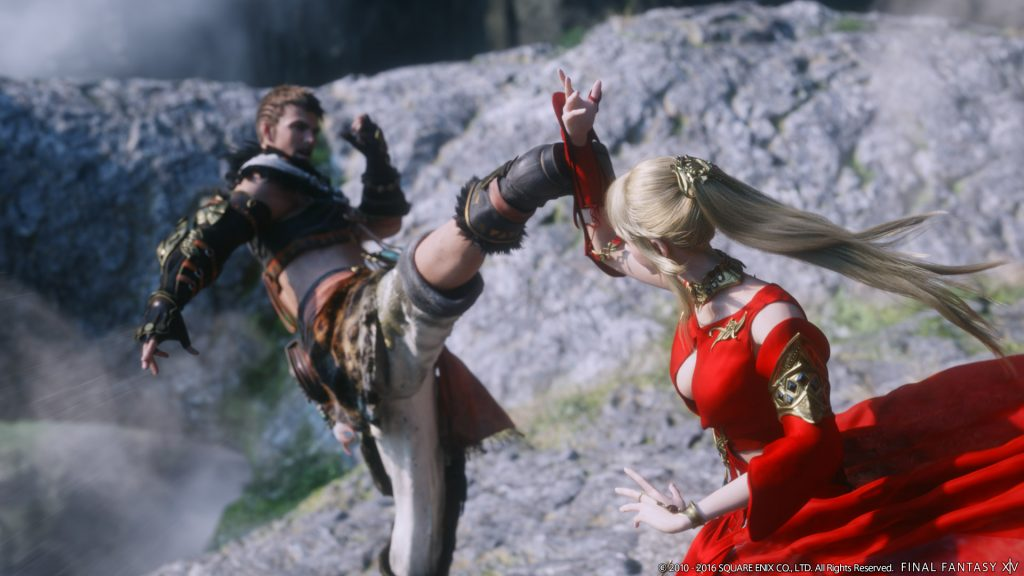 Another image of the Warrior of Light and Lyse sparring.