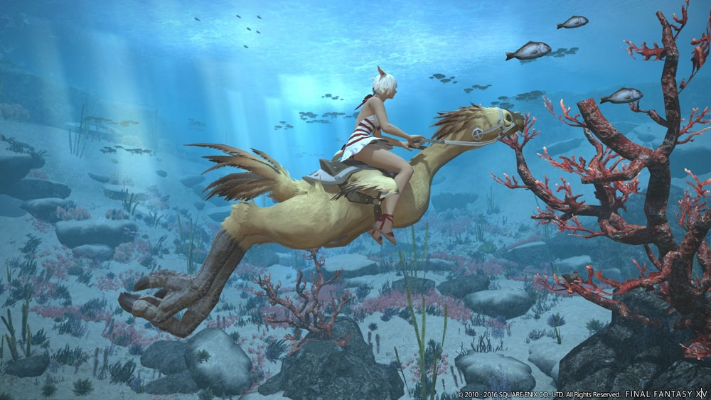 An undersea view, featuring a player riding a chocobo.