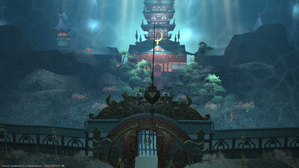 An external view of Shisui of the Violet Tides, one of the new dungeons.