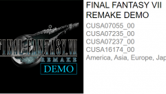 FFVII Remake Demo Listed on PSN!