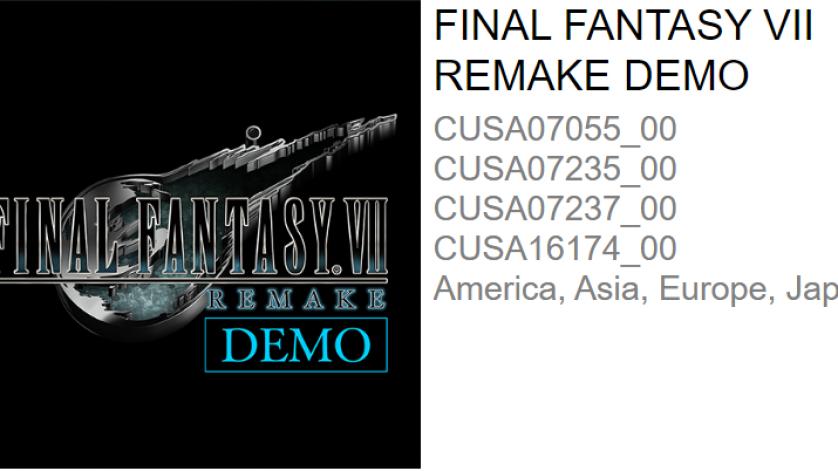 FFVII Remake Demo Listed on PSN!