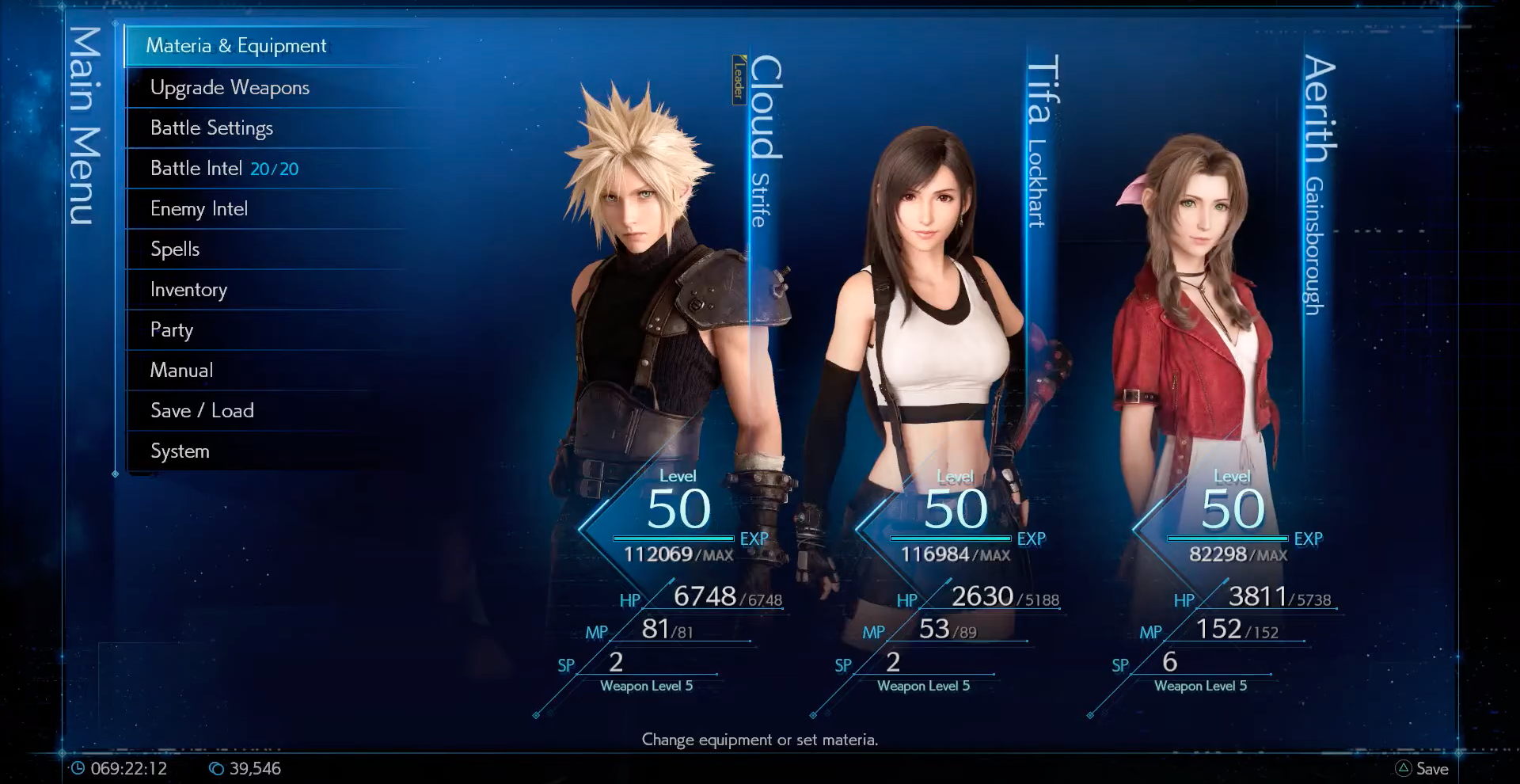 Remake Menu Screen at Level 50