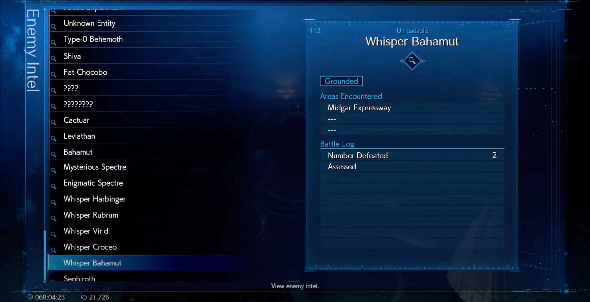 Enemy Intel: Whisper Bahamut